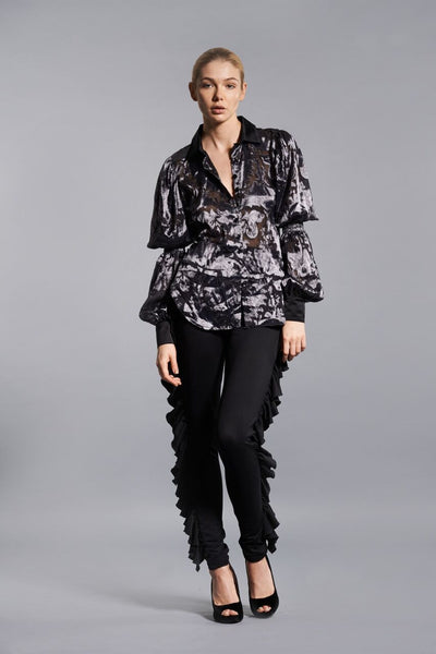 BLACK BUTTERFLY RUFFLE PANT