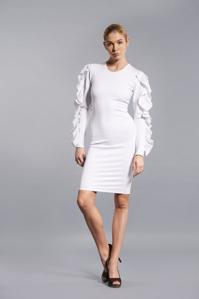 WHITE BUTTERFLY RUFFLE DRESS