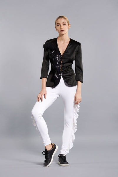 WHITE BUTTERFLY RUFFLE PANT