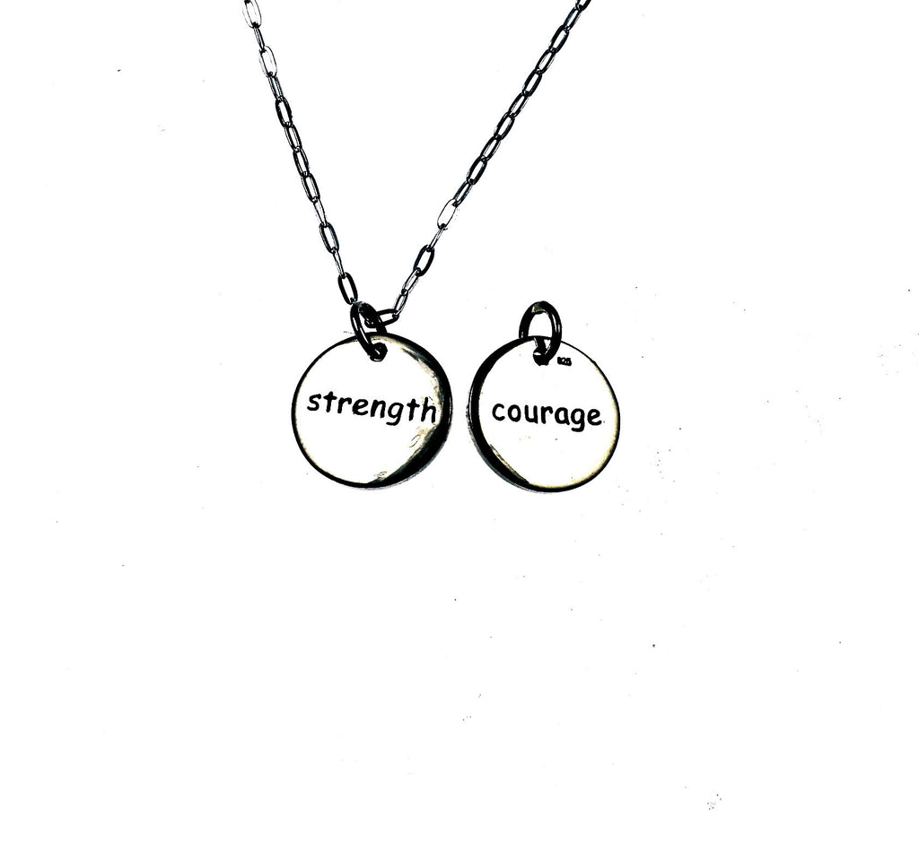 angelou silver dogeared courage maya sterling necklace medallion inch