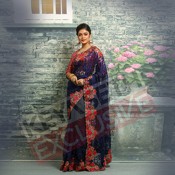 blue net saree for christmas & new year party