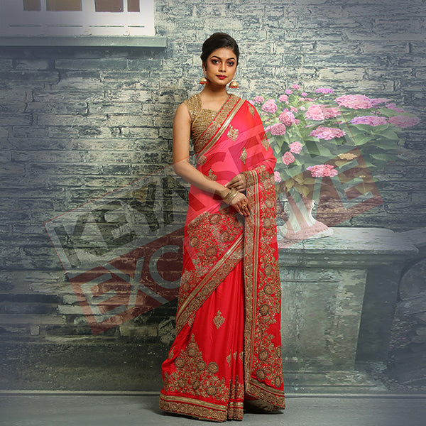 red chiffon saree for new year party