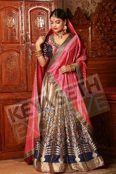 silk lehenga, lehenga for bride, llehenga for reception