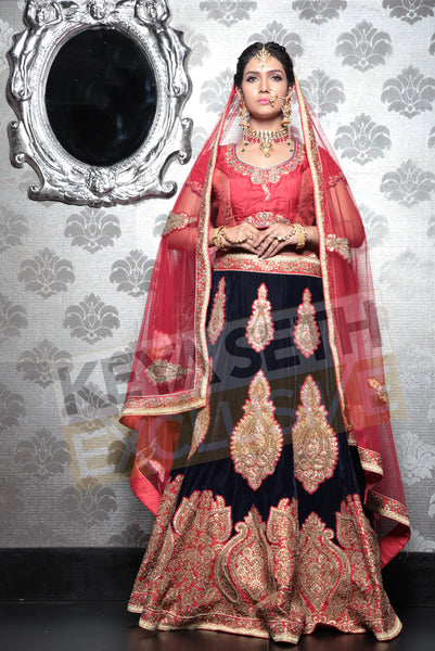 bridal lehenga in navy blue, bridal lehenga, lehenga for wedding