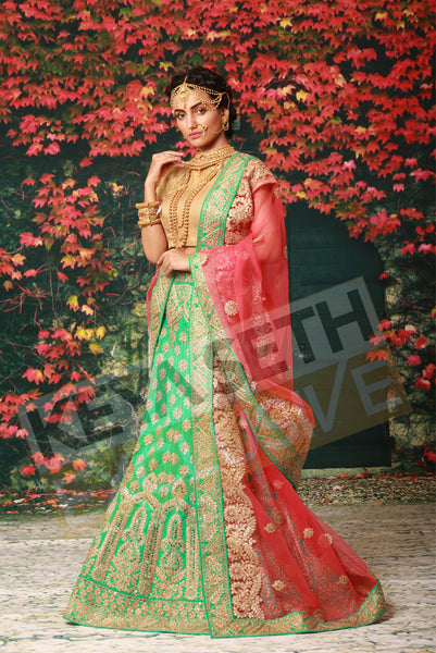 green lehenga for bride, green lehenga for wedding