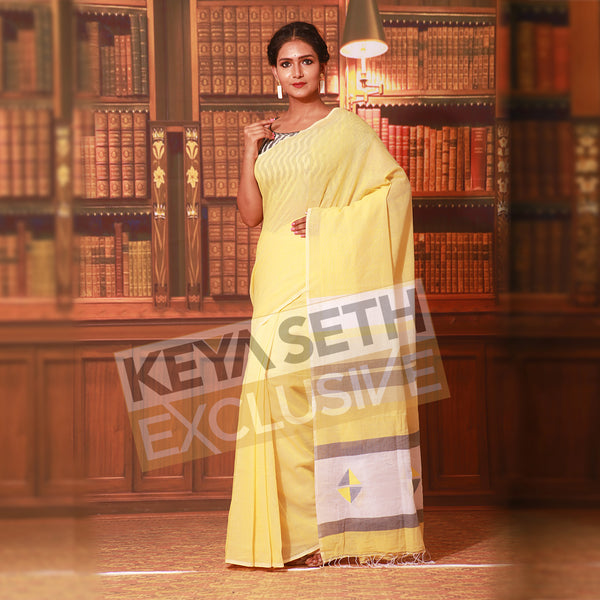 pure linen saree in soft yellow