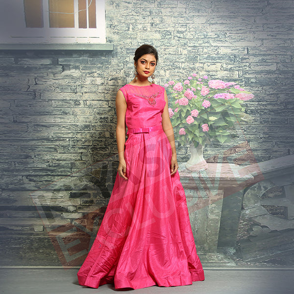 Pink Silk Gown for party