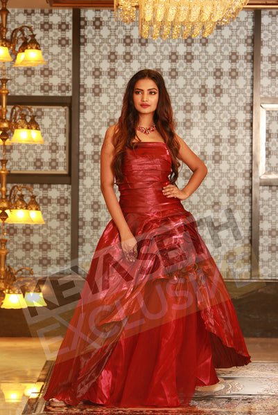 layered gown, maroon gown, gown for reception