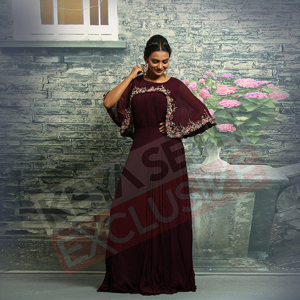 maroon poncho gown for christmas party