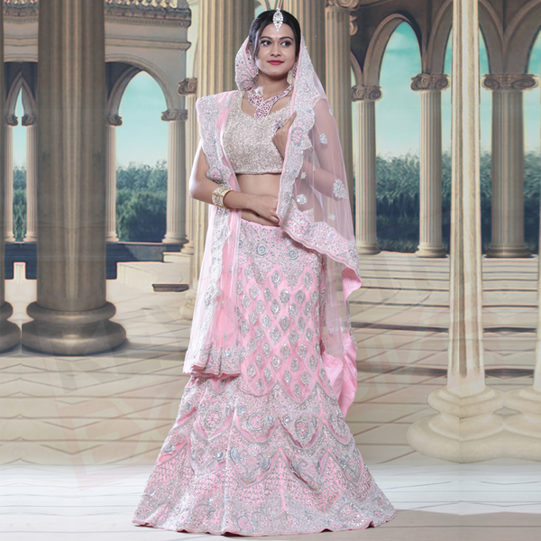 pink reception lehenga at keya seth exclusive
