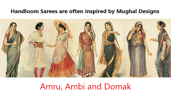 handloom sarees are often inspired by moghul designs