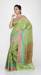SELF CHANDERI SILK SAREE WITH MONOPOLY DESIGN