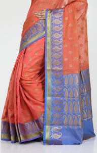 MINAKARI CHANDERI SILK SAREE WITH HIGHLIGHTED PRESLEY BORDER