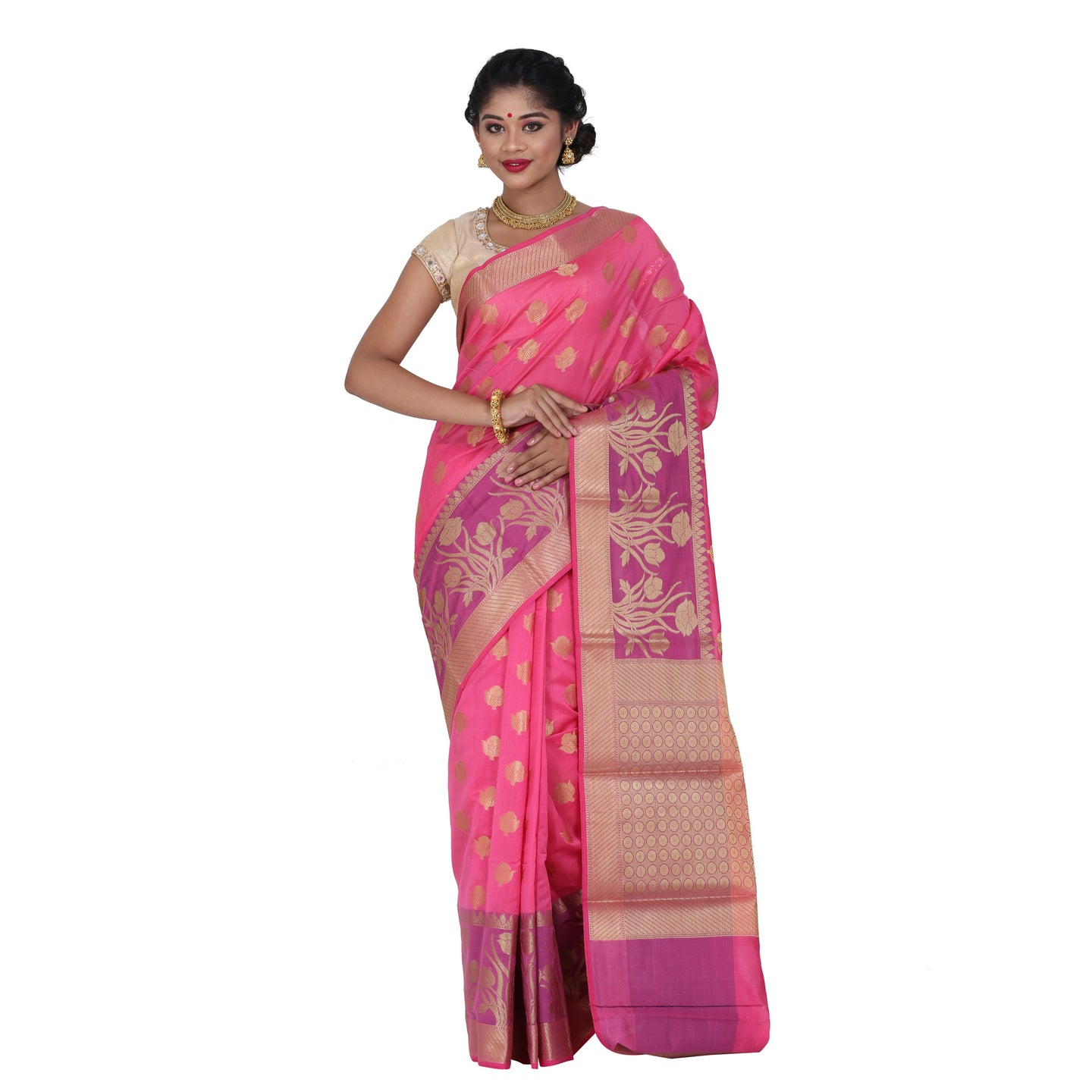 Pink Color Chanderi Silk Saree with all over golden buta highlighted zari  work with Border