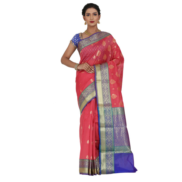 Peach Color Chanderi Silk Saree with all over golden buta highlighted zari  work with Border