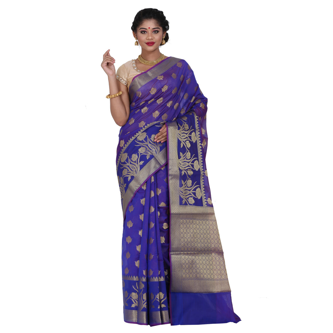 Dark Blue Color Chanderi Silk Saree with all over golden buta highlighted zari  work with Border