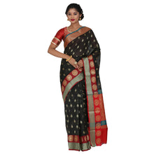 Load image into Gallery viewer, Black Color Chanderi Silk Saree with all over golden buta highlighted zari  work with Border