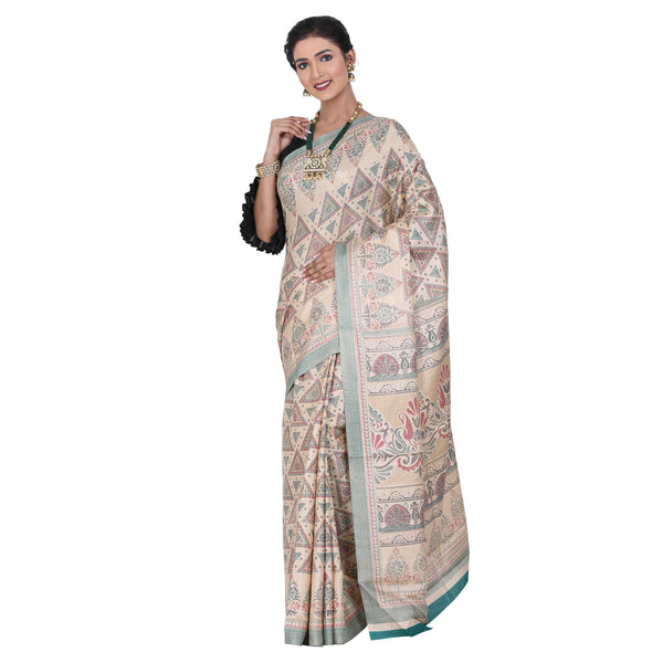 Beige Color Printed Ghicha Silk Saree with all over Multicolor Designer printed sari