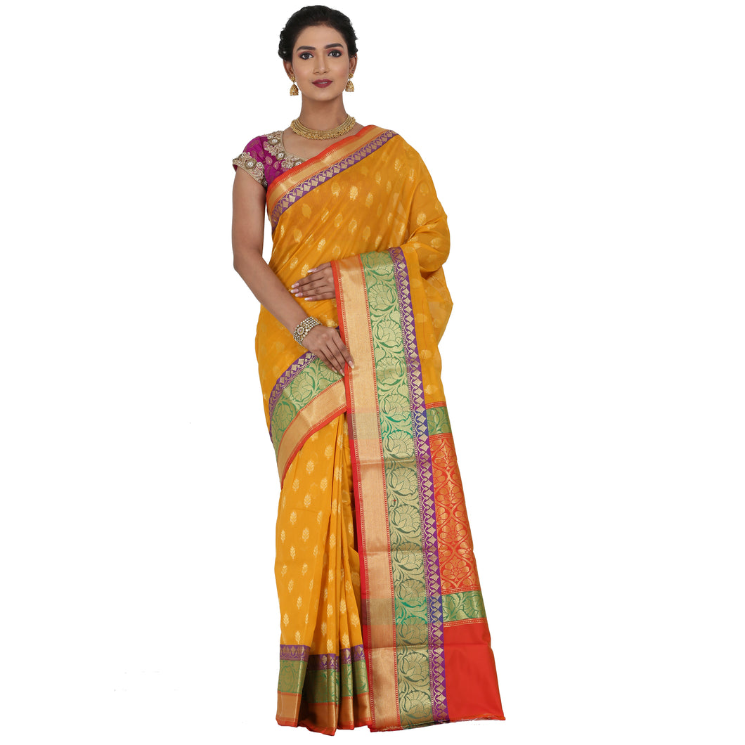 Yellow Color Chanderi Silk Saree with all over golden buta highlighted zari  work with Border