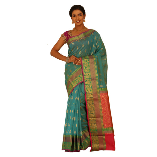 Sea Green Color Chanderi Silk Saree with all over golden buta highlighted zari  work with Border