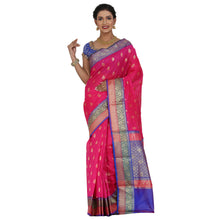Load image into Gallery viewer, Magenta Color Chanderi Silk Saree with all over golden buta highlighted zari  work with Border