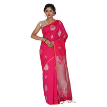 Load image into Gallery viewer, Pink Color Sana Silk Saree with highlighted all over Silver motif and Pallu