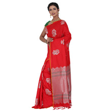 Load image into Gallery viewer, Red Color Sana Silk Saree with highlighted all over Silver motif and Pallu