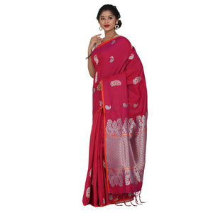 Red Color Sana Silk Saree with highlighted all over Silver motif and Pallu