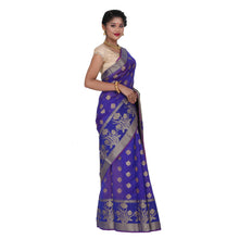 Load image into Gallery viewer, Dark Blue Color Chanderi Silk Saree with all over golden buta highlighted zari  work with Border