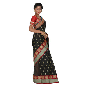Black Color Chanderi Silk Saree with all over golden buta highlighted zari  work with Border