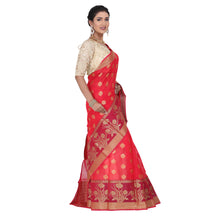 Load image into Gallery viewer, Red Color Chanderi Silk Saree with all over golden buta highlighted zari  work with Border