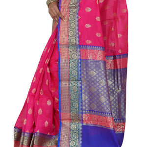 Magenta Color Chanderi Silk Saree with all over golden buta highlighted zari  work with Border