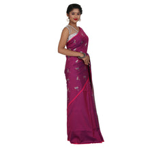 Load image into Gallery viewer, Purple Color Sana Silk Saree with highlighted all over Silver motif and Pallu