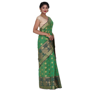 Green Color Chanderi Silk Saree with all over golden buta highlighted zari  work with Border