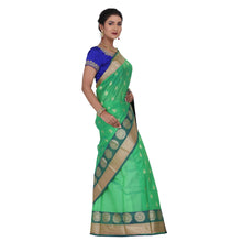 Load image into Gallery viewer, Sea Green Color Chanderi Silk Saree with all over golden buta highlighted zari  work with Border