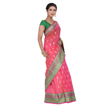 Load image into Gallery viewer, Pink Color Chanderi Silk Saree with all over golden buta highlighted zari  work with Border