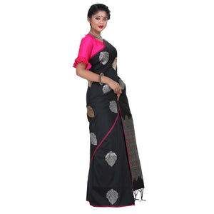 Black Color Sana Silk Saree with highlighted all over Silver motif and Pallu