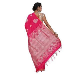 Pink Color Sana Silk Saree with highlighted all over Silver motif and Pallu