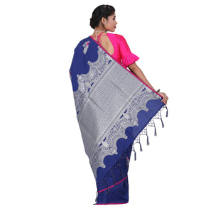 Blue Color Sana Silk Saree with Highlighted all over Silver Motif and Pallu