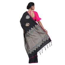 Load image into Gallery viewer, Black Color Sana Silk Saree with highlighted all over Silver motif and Pallu