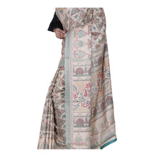 Load image into Gallery viewer, Beige Color Printed Ghicha Silk Saree with all over Multicolor Designer printed sari