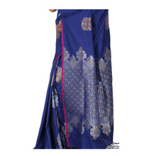 Load image into Gallery viewer, Blue Color Sana Silk Saree with highlighted all over Silver motif and Pallu