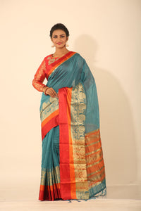 BLUE COLOUR CHANDERI SILK SAREE WITH MULTILAYERED SATIN BORDER