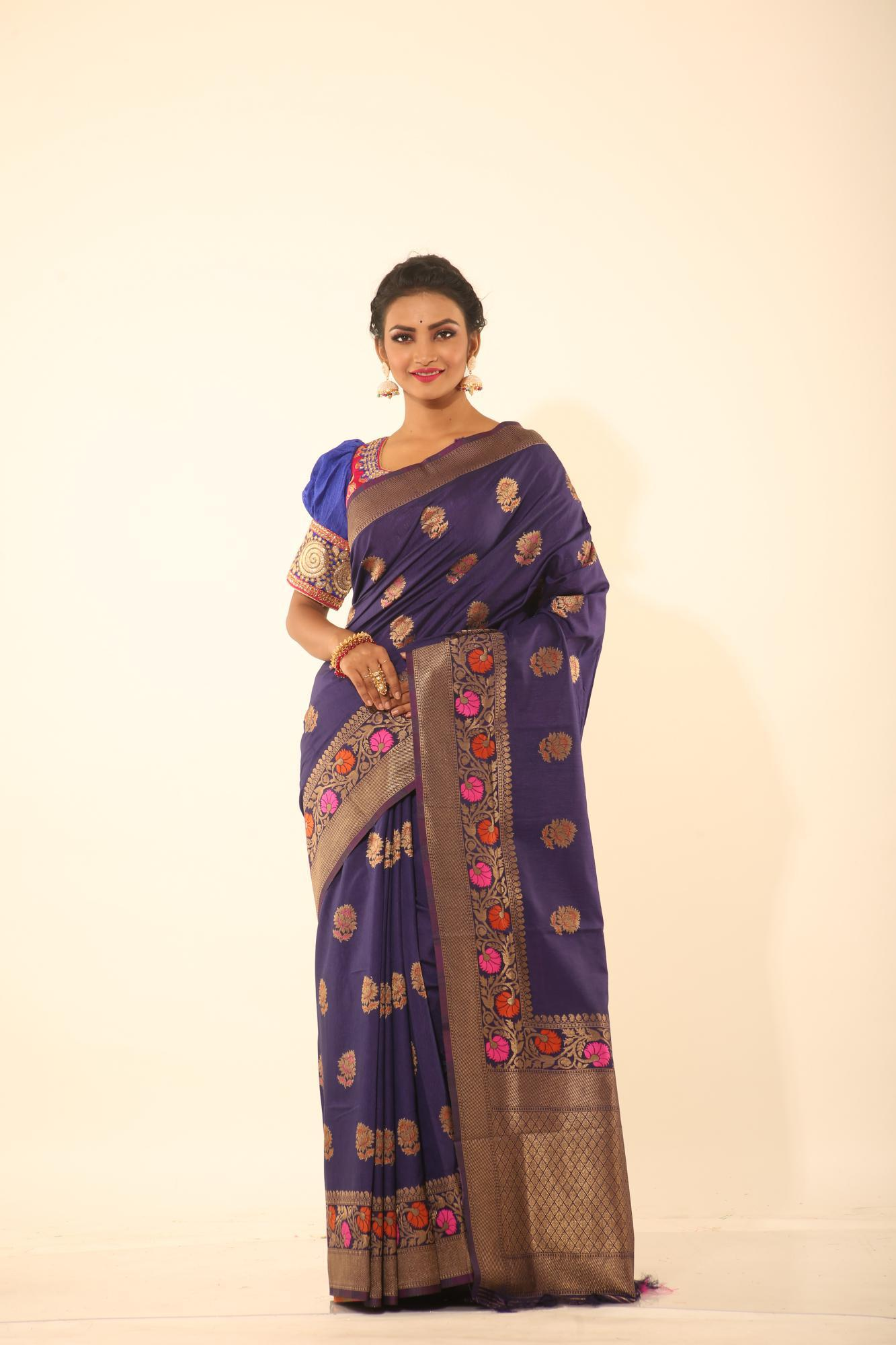 BLUE COLOUR MINAKARI CHANDERI SILK SAREE