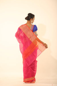 PINK COLOUR CHANDERI SILK SAREE WITH CONTRASTING  ZARI WOVEN BORDER