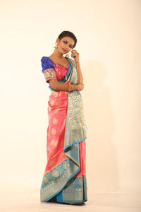 PEACH COLOUR GHICHA SILK SAREE