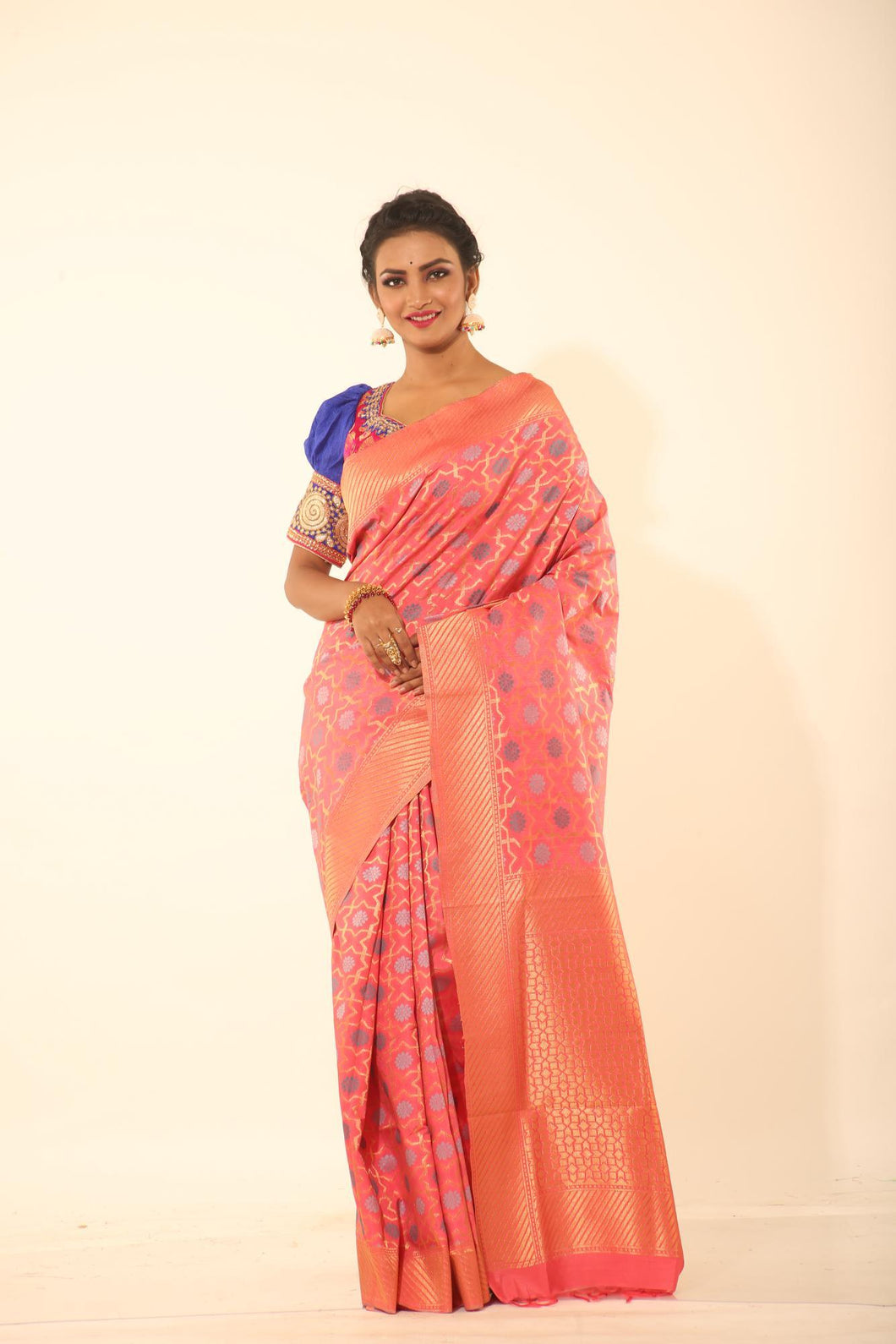 PEACH COLOUR CHANDERI SILK SAREE