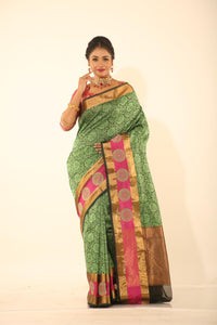 GREEN COLOUR EPICAL SILK WITH ALL OVER SELF WEAVING