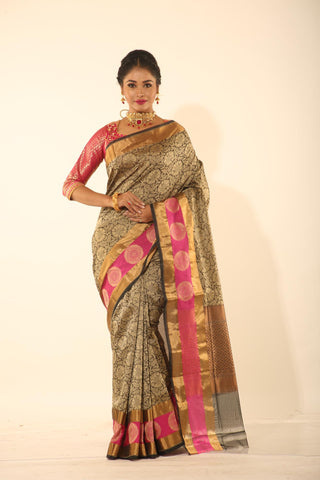 BLACK COLOUR EPICAL SILK WITH ALL OVER SELF WEAVING