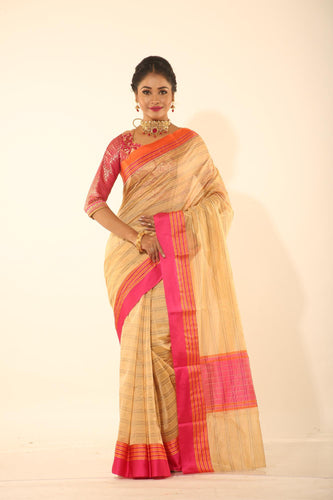 GOLDEN COLOUR CHANDERI SILK SAREE WITH MULTILAYERED SATIN BORDER